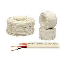 Coax combikabel RG59 + 2x voeding ader 2x 0.5 100m wit (non-cpr)